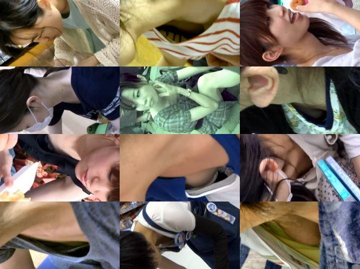 Downbluse_24 胸チラ祭り!!カワイイJDのカワイイおっぱい, 胸元の隙間vol.2, 胸元の隙間vol.8, 胸元の殿堂vol.12, ニット巨乳の胸チラのぞき見